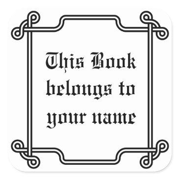 Aztec Themed Classic ornamental custom bookplate black & white