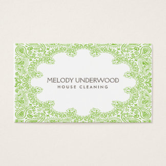 Classic Paisley Design for House Cleaner, Maid Business Card