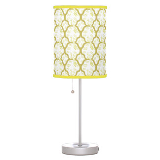 Classic pastel oriental peacock japanese pattern table lamp