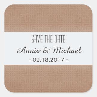 Classic Pattern -Khaki- Save the Date Square Sticker