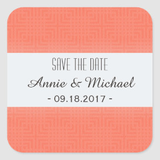 Classic Pattern -Salmon- Save the Date Square Sticker