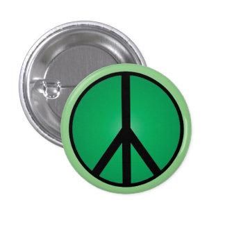 Classic Peace Sign Button Black and Sea Foam Green