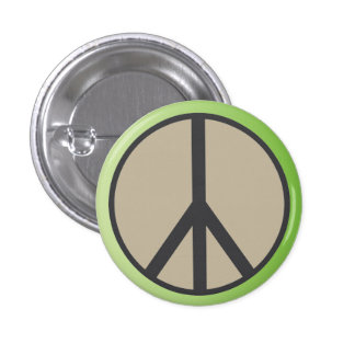 Classic Peace Sign Button Sea Foam Green and Grey