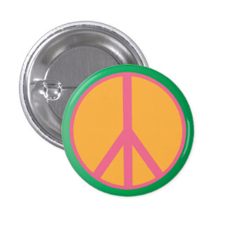 Classic Peace Sign Button Sea Foam Green and Pink
