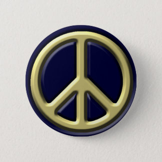 Classic Peace Sign, Gold Pinback Button