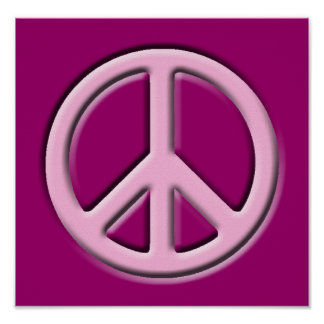 Classic Peace Sign, Pink Poster