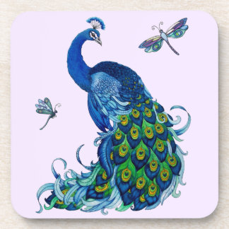 Classic Peacock and Dragonfly Design Beverage Coaster