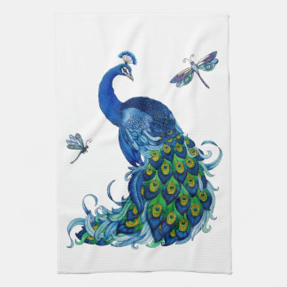 Classic Peacock and Dragonfly Design Towels