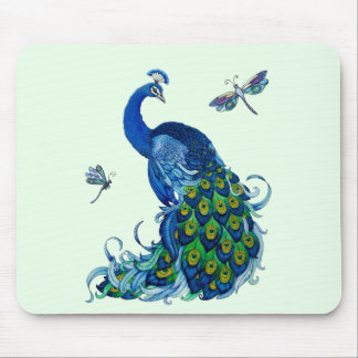Classic Peacock and Dragonfly Design Mouse Pad