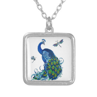 Classic Peacock and Dragonfly Design Silver Plated Necklace