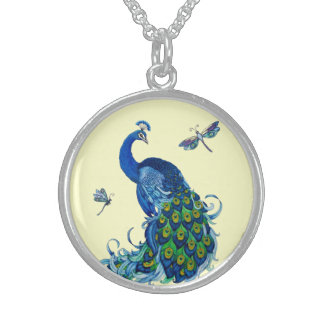Classic Peacock and Dragonfly Design Sterling Silver Necklace