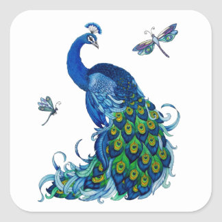 Classic Peacock and Dragonfly Design Square Sticker