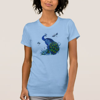 Classic Peacock and Dragonfly Design T-Shirt