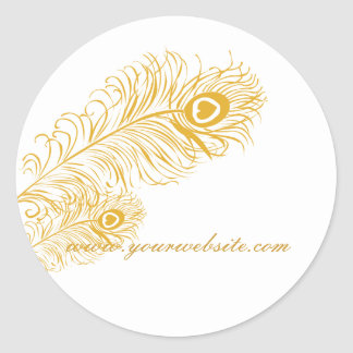 Classic Peacock Feathers Round Sticker