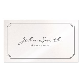 Classic Pearl White Announcer Business Card