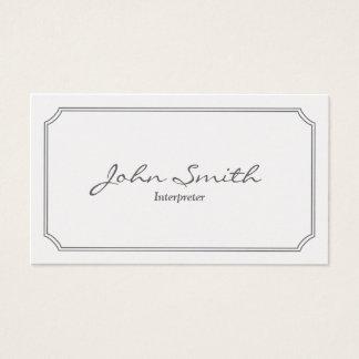 Classic Pearl White Interpreter Business Card
