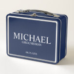 """Classic Personalized Groomsman Metal Gift Box<br><div class=""""desc"""">Classic Personalized Groomsman Metal Gift Box featuring personalized groomsman&#39;s name with title and wedding date in classic serif font style.  Also perfect for Best Man,  Father of the Bride and more.</div>"""