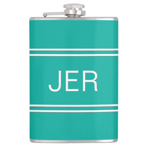 Classic Personalized Monogram Initials Drink Teal Flask
