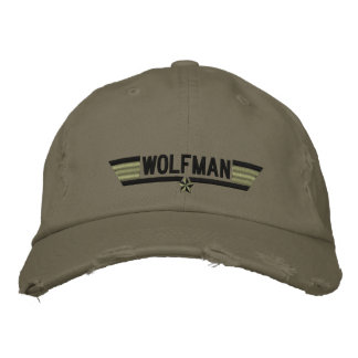 Classic Personalized Top Gun Wolfman or Your Text Embroidered Hat