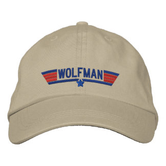 Classic Personalized Top Gun Wolfman Your Text Embroidered Baseball Hat