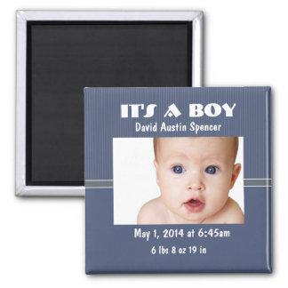 Classic Photo Birth Announcement 2 Inch Square Magnet