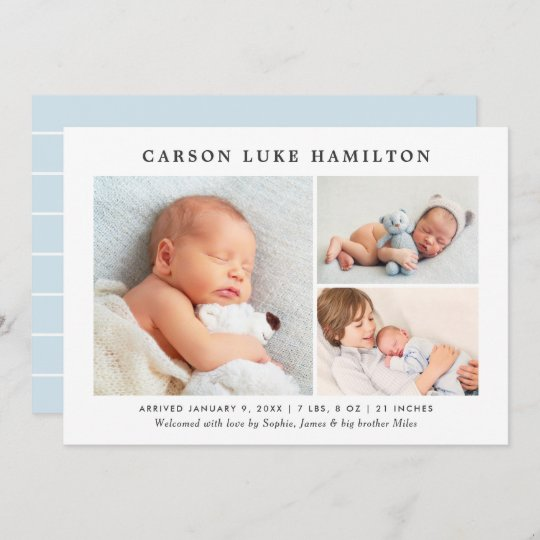 Classic Photo Collage Blue Handsome Baby Boy Birth Announcement
