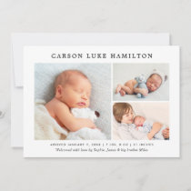 Classic Photo Collage | Handsome Baby Boy Birth Announcement