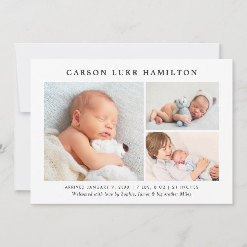 Classic Photo Collage  Handsome Baby Boy Birth Announcement