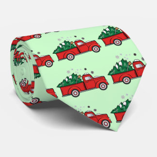 Classic Pick-Up Truck with Christmas Tree Tie