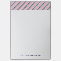 Classic Pink and Blue Stripes Post-it Notes