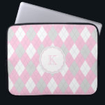 "Classic Pink and Gray Argyle Pattern Laptop Sleeve<br><div class=""desc"">Get your girly on with this classic pink,  gray and white argyle pattern laptop sleeve features a darker gray stitch pattern that completes the design. Customize with your monogram or name.</div>"