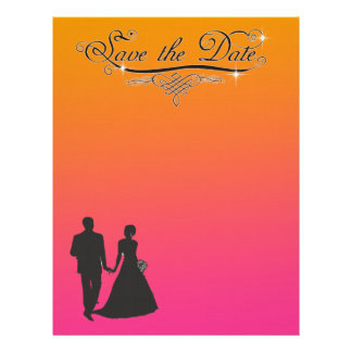 CLASSIC PINK AND ORANGE SAVE THE DATE LETTERHEAD