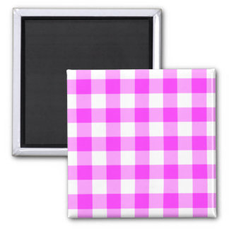 Classic Pink and White Gingham Pattern Magnet