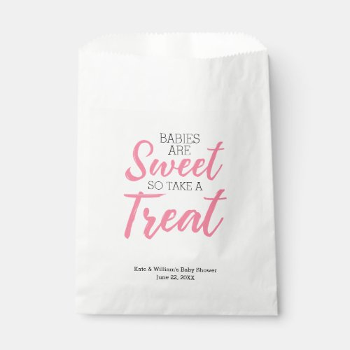 Classic Pink Babies Sweet Girl Baby Shower Party Favor Bag