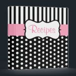 """Classic Pink Black Recipe Binder<br><div class=""""desc"""">Classic black and white dots  and a pink accent give this recipe binder retro style. Use this empty binder as a recipe organizer,  cookbook,  recipe book,  recipe binder,  etc... The design is from original art.</div>"""