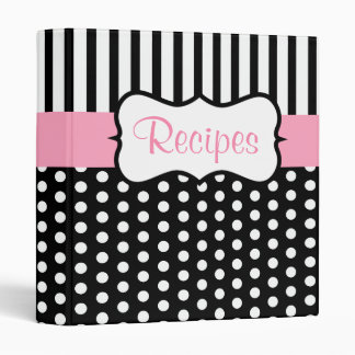 Classic Pink Black Recipe Binder