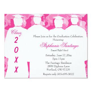 Classic Pink Camo Elegant Graduation Invitation
