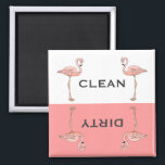 """Classic Pink Flamingo Clean Dirty Dishwasher Magnet<br><div class=""""desc"""">A drawing of a pink flamingo standing on one foot anchors both sides of the clean and dirty wording for the dishwasher. It is separated  by a white top and pink bottom border. Classic,  fun and whimsical. Design fits the square product only.</div>"""