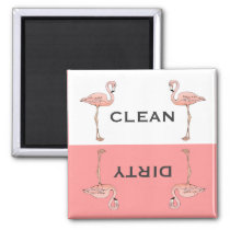 Classic Pink Flamingo Clean Dirty Dishwasher Magnet
