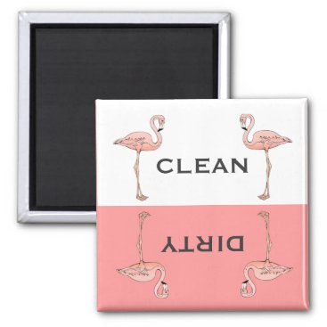 Beach Themed Classic Pink Flamingo Clean Dirty Dishwasher Magnet