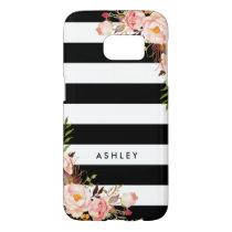 Classic Pink Floral Black White Stripes Monogram Samsung Galaxy S7 Case