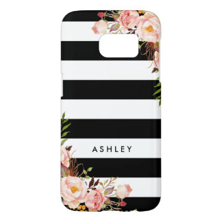 Classic Pink Floral Black White Stripes Monogram Samsung Galaxy S7 Case