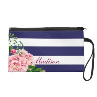 Classic Pink Floral Roses Name Personalization Wristlet