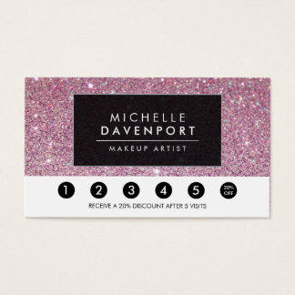 Classic Pink Glitter Salon Loyalty Punch Card