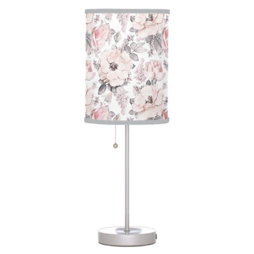 Classic Pink & Gray Pattern Table Lamp