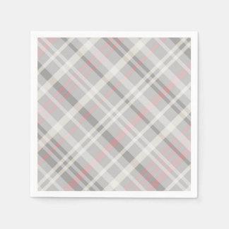 classic pink gray white plaid paper napkin