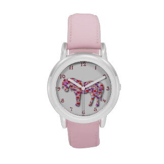 Classic Pink Heart Horse Pony Watch