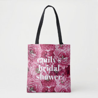 Classic Pink Peonies Clusters Custom Bridal Shower Tote Bag