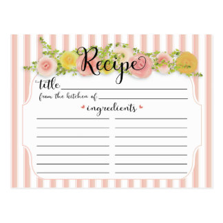 Classic Pink Stripes with Roses Recipe Card