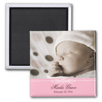 Classic Pink & White Announcement Magnet